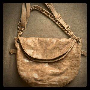 "Brown ""Snake Skin"" bag w gold embellishments"